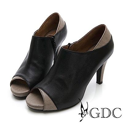 GDC-真皮拼接歐美設計感性感魚口高跟鞋-黑色