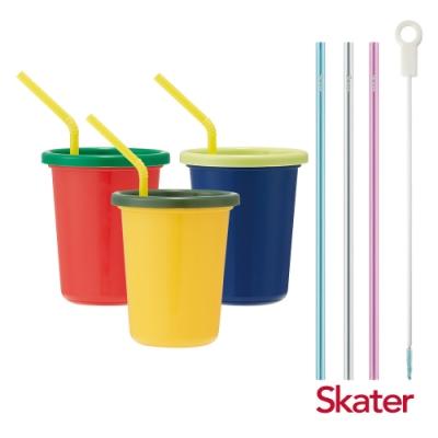 Skater日本製3入水杯(320ml)Vegetable+環保吸管組(3入附刷)