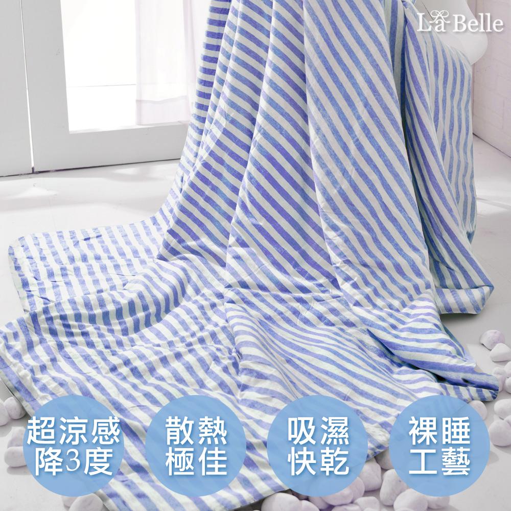 義大利La Belle 斯卡線曲 色坊針織超涼感涼被-藍