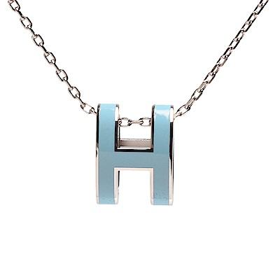 HERMES 經典Pop H立體簍空橢圓LOGO項鍊(粉彩藍X銀)