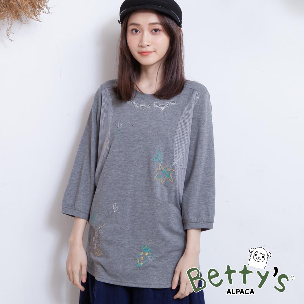 betty's貝蒂思 繽紛細點側接網布T-shirt(淺灰) @ Y!購物