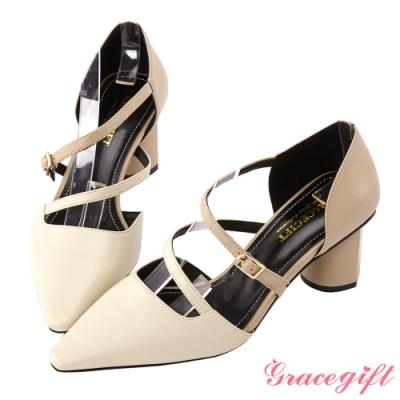 Grace gift-尖頭設計感條帶中跟鞋 米白