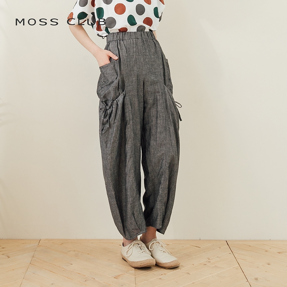【MOSS CLUB】棉麻松緊腰雙層口袋造型-褲子(二色)