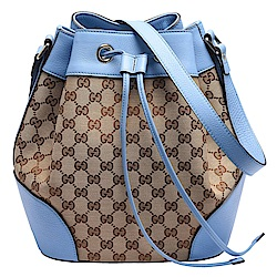 GUCCI 經典GG LOGO緹花布牛皮飾邊束口肩背水桶包(藍)