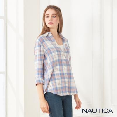 Nautica女裝輕柔格紋長袖襯衫 -藍橘格