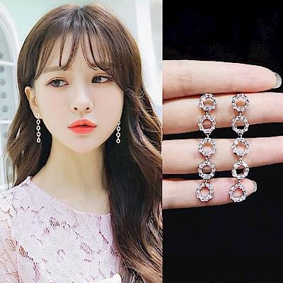 梨花HaNA 韓國925銀輕盈鋯石圈圈妝飾長耳環