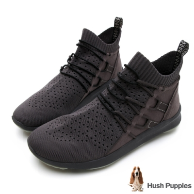Hush Puppies Bounce Max 高效彈力男高筒休閒鞋-深灰
