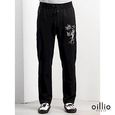 歐洲貴族oillio 休閒針織長褲 老虎電腦刺繡 布圖標拼貼 黑色