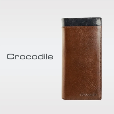 Crocodile鱷魚皮件 真皮皮夾 Naturale 3.0系列 12卡 拉鍊 長夾 男夾-0103-09501-咖啡色-原廠公司貨