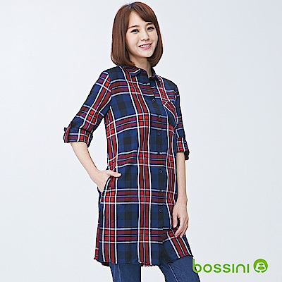 bossini女裝-長版長袖襯衫02海軍藍