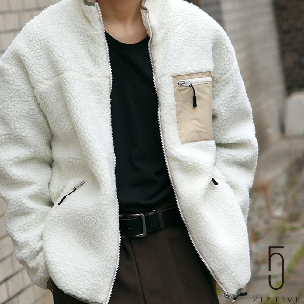 ZIP日本男裝 異素材拼接毛茸茸BOA絨毛立領夾克外套 (11色)