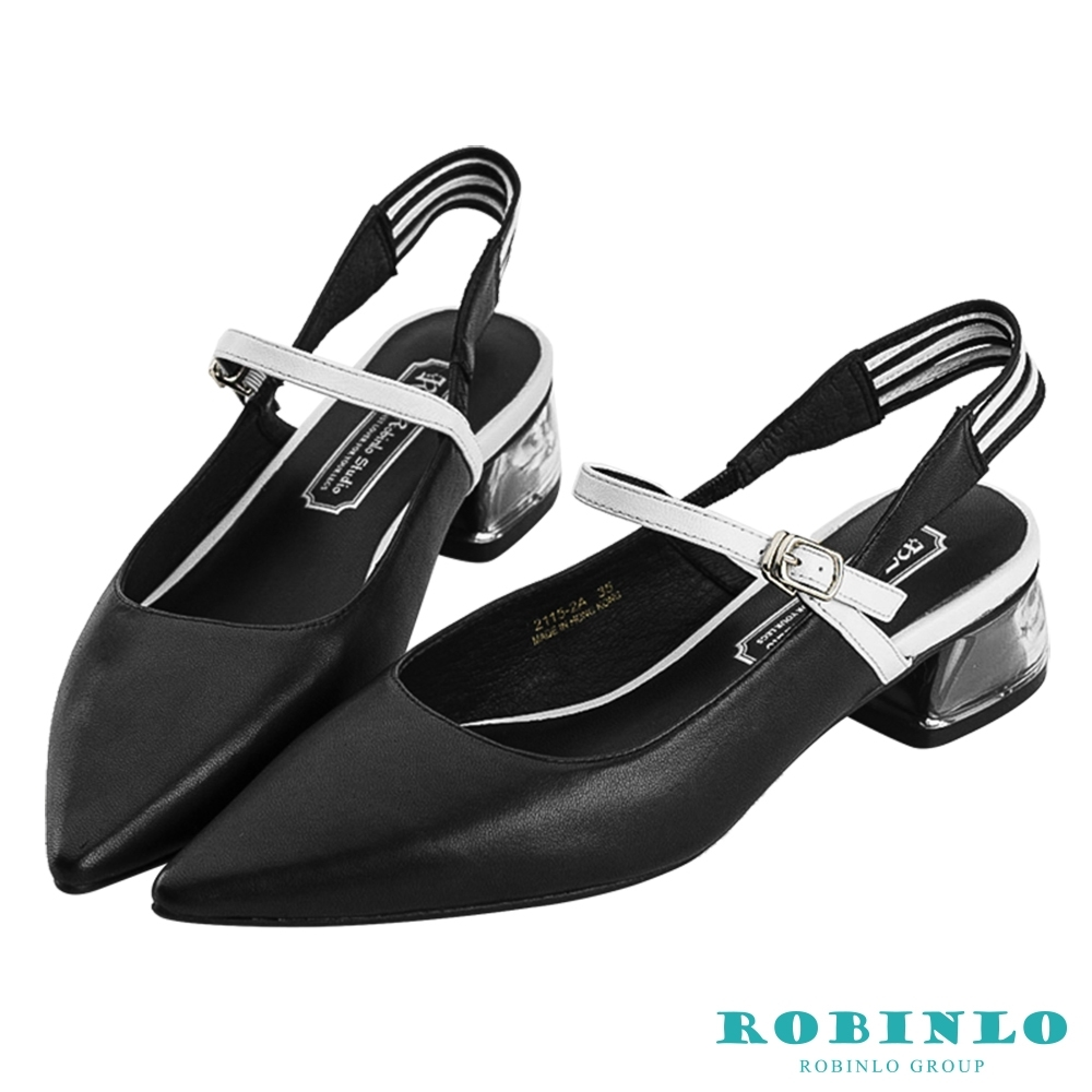 Robinlo都會拼色尖頭細帶果凍低跟涼鞋 黑色
