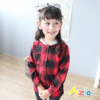 Azio Kids 上衣 單口袋下擺格子長版連帽長袖襯衫(紅)