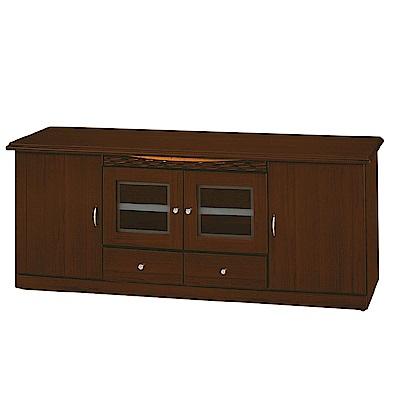 綠活居 莫莉時尚6尺木紋四門電視櫃/視聽櫃-180x45x72cm-免組