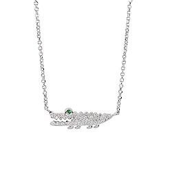 apm MONACO法國精品珠寶 閃耀銀色小鱷魚鑲鋯可調整長項鍊