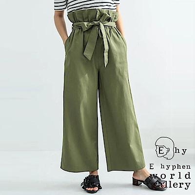 E hyphen 高腰可反折綁帶設計寬褲