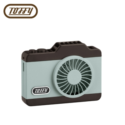 日本Toffy LED Camera Fan相機造型USB充電電風扇 馬卡龍綠