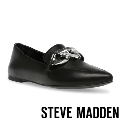 STEVE MADDEN-FAMED 銀飾扣皮質平底鞋-黑色