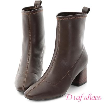 D+AF 知性話題.素面剪裁木紋跟短靴*咖