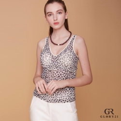 GLORY21 豹紋印花罩杯式背心_紫