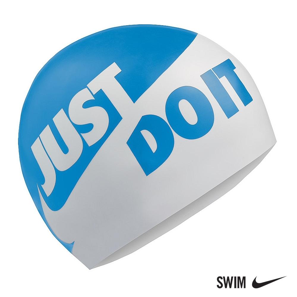 NIKE 男女 SLOGAN 矽膠泳帽 運動 機能 藍白 NESS9164-458