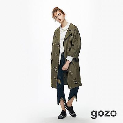 gozo 外太空造型印花軍裝風外套(軍綠)