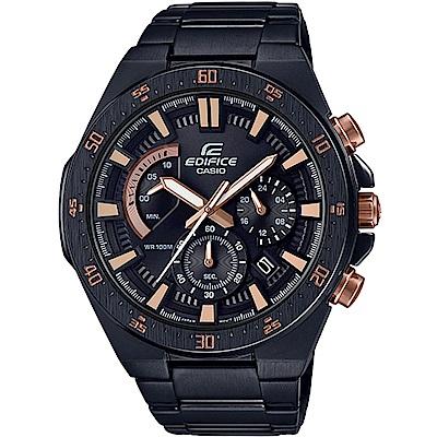EDIFICE 帥氣奔放計時賽車錶(EFR-563DC-1A)-黑x玫瑰金/48.9mm