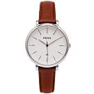 FOSSIL 文青優雅風的皮革女性手錶(ES4368)-白面X咖啡色/36mm