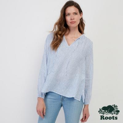 女裝Roots- 鄉村風平織上衣-藍色
