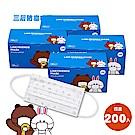 日本境內版 LINE FRIENDS 熊大兔兔一般三層防塵口罩-4盒200入(50入組x4)