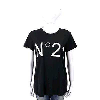 N° 21 字母設計黑色棉質T恤