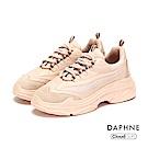 達芙妮DAPHNE 休閒鞋-網布拼接彈性繫帶厚底休閒鞋-粉紅