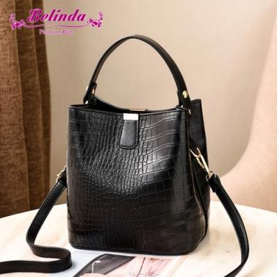 【Belinda】克蕾伊鱷魚紋大開口手提側背水桶包(黑色)