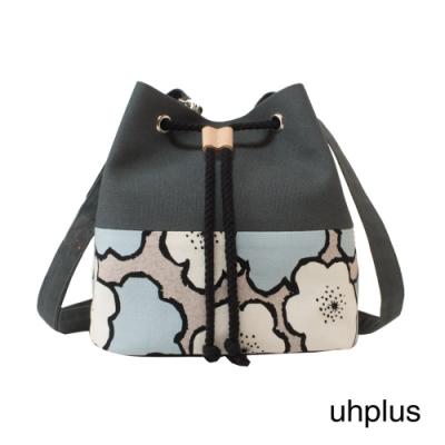 uhplus 簡約輕巧水桶包(花繪/藍灰)