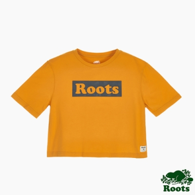 Roots女裝-曠野探索系列 Roots文字寬短版短袖T恤-黃色
