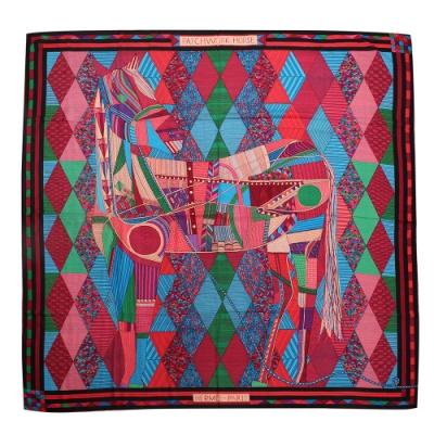 HERMES Patchwork Horse拼布圖騰羊毛混絲圍巾-紅/綠
