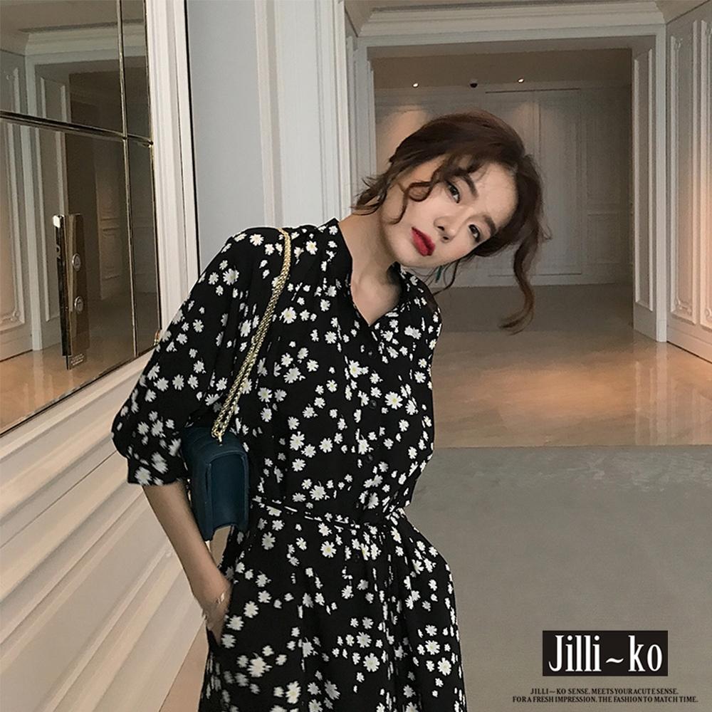 JILLI-KO 雛菊碎花繫腰連衣裙- 黑色 (黑色系)