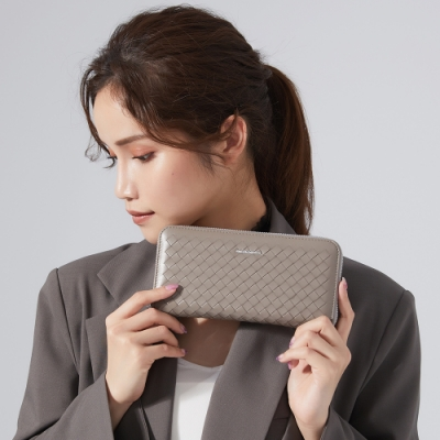 【金安德森】Weave 細緻編織拉鍊長夾-灰色