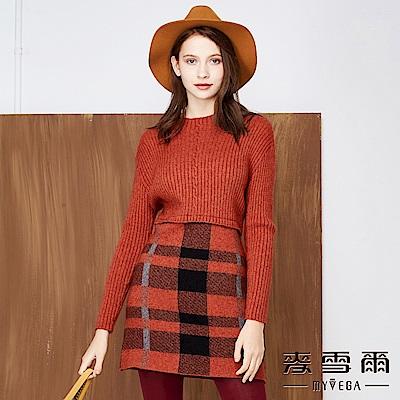 【麥雪爾】坑條編織格紋拼接短洋裝