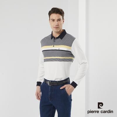 Pierre Cardin皮爾卡登 男款 棉質混紡 條紋緹花 刷毛保暖長袖POLO衫-白色(5185280-91)
