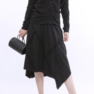 設計所在Style-不規則高腰素色寬鬆顯瘦鬆緊腰A字長裙