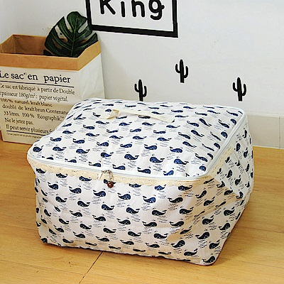 【收納職人】衣物棉被大容量防水防塵袋收納袋收納箱50L(白底小藍鯨)