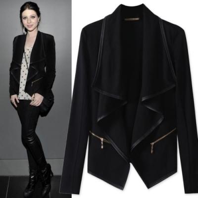 MOCO黑色垂墬大翻領不規則薄款開衫外套L~5XL