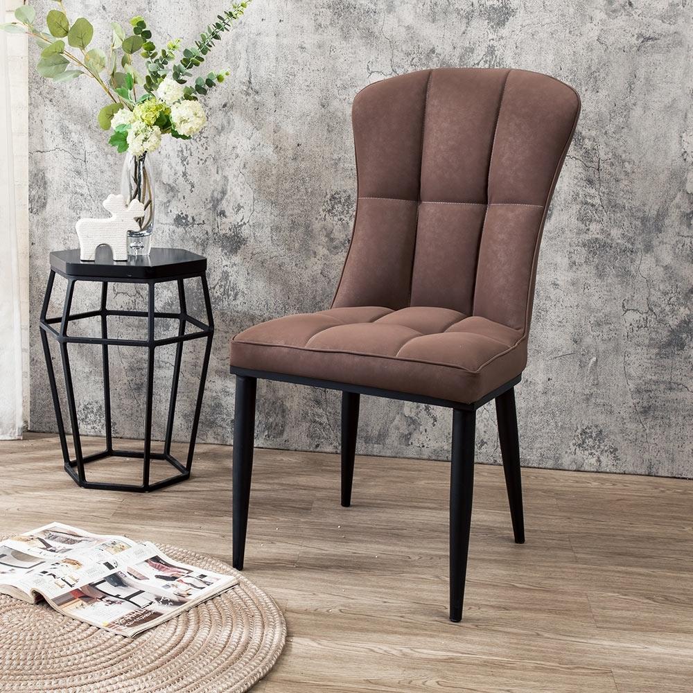 Boden-布薩克工業風咖啡色耐磨皮革餐椅/單椅-47x61x91cm