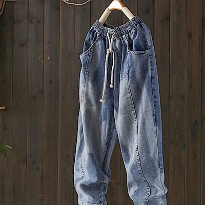 時尚個性拼色棉質牛仔寬鬆哈倫九分褲-設計所在