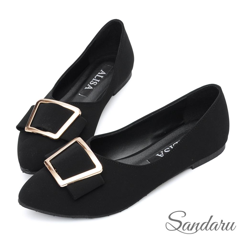 山打努SANDARU-尖頭鞋 優雅霧感皮革方釦平底鞋-黑