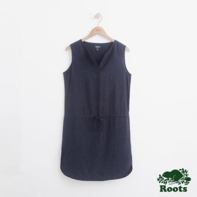 女裝Roots 無袖抽繩平織洋裝-藍