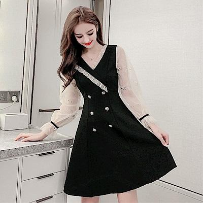 DABI 韓系時尚燙金印花網紗拼接木耳邊顯瘦長袖洋裝