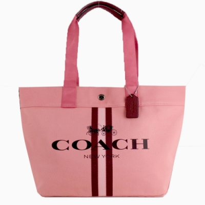 COACH 大logo條紋帆布購物托特包(珊瑚粉)