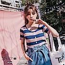 東京著衣 百搭亮眼橫紋高彈性排釦針織上衣-S.M(共兩色)